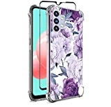 Bereajoy for Galaxy A32 5G Case,with Tempered Glass Screen Protector, TPU Soft Rubber Four Corners Reinforced Anti-Fall Mobile Phone case Cover for Samsung Galaxy A32 5G (Purple Flower)