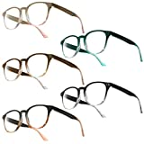 UrbanSky Gafas de Lectura Gil - Paquete de 5 Gafas de Lectura de plástico con bisagras de Resorte (+3.00 dpt)