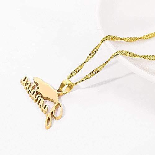 Yiffshunl Collar Collar Collar Mapa de Jamaica Collares Pendientes para Mujeres niñas Color Dorado Gargantilla de Acero Inoxidable Collar para joyería de Jamaica Regalos Collar Regalo