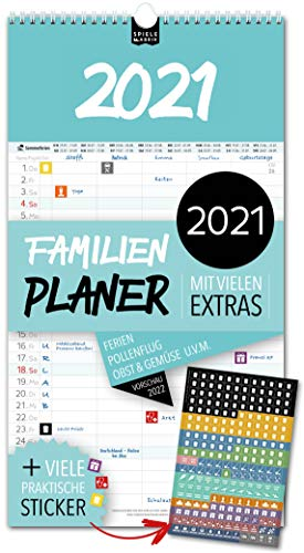 Familienplaner 2021 – DAS ORIGINAL   5 Spalten   Wandkalender: 23x43cm   Familienkalender & 228 praktische Sticker, Ferien 2021/22, Pollen-, Obst- & Gemüse-, Jahreskalender, Vorschau bis März 2022