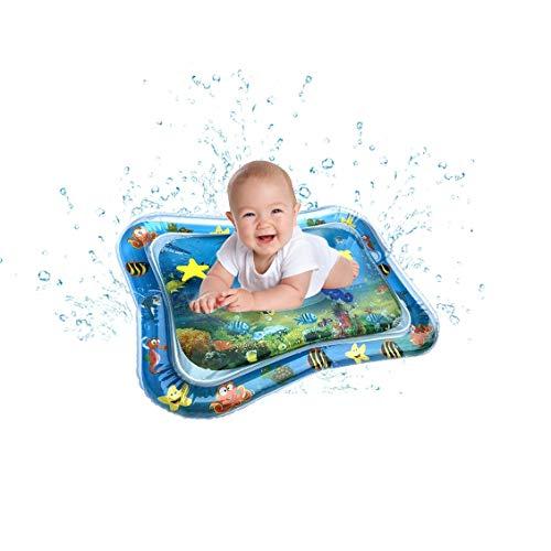QqHAO Gonflable Tummy Temps Eau Mat, Jeu bébé Eau Tapis sensoriel Jouets bébés Enfants en Bas âge Fun activité Ocean Center Theme Pad