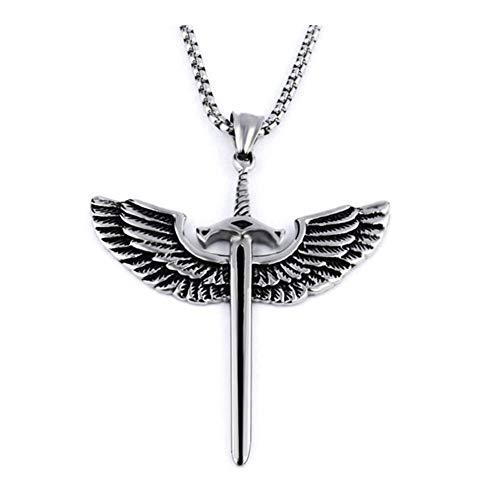 chenyou Pendant Vintage New Angel Wing Sword Pendant Necklace Fashion Retro Titanium Steel Alloy Men's Sweater Chain necklace (Metal Color : Silver)