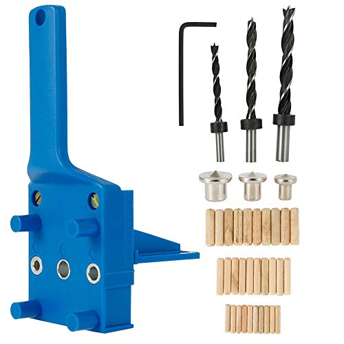 Dima per Spinatura Legno,Dima per Fori a Tasca 6/8/10 mm Dima per foro dritto per legno con custodia in metallo (blu 41pcs)