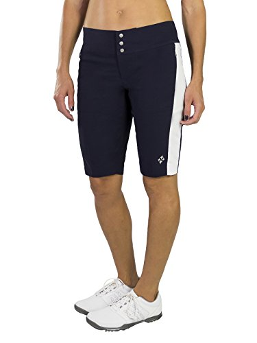 Jofit Women's Athletic Clothing Long Bermuda Golf Shorts with Back Pockets, Fitted Athletic Clothes, Size 6, Midnight & White