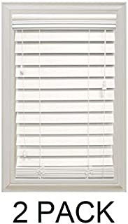 Home Decorators Collection White 2-1/2 in. Premium Faux Wood Blind - 52 in. W x 64 in. L (Actual Size is 51.5 in. W x 64 in. L) (2 Pack)
