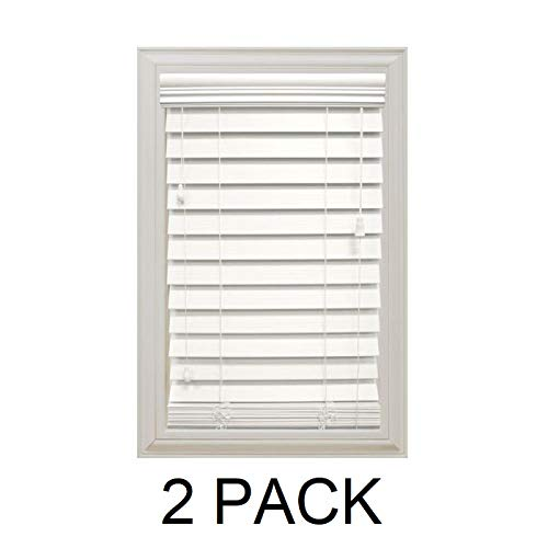 Home Decorators Collection White 2-1/2 in. Premium Faux Wood Blind - 23...