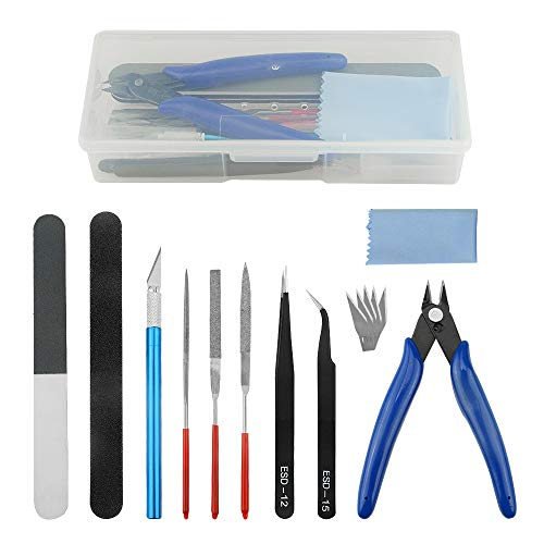 WMYCONGCONG 15 PCS Model Tools Kit Gundam Modeler Basic Tools Hobby Building Tools Kit for Buildings Cars Airplanes Model Assemble Building Repairing and Fixing