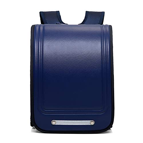 DIYUN Schoolbags for Primary School Students, Grades 3-6, Bookbags for Boys and Girls,PU Backpack,Navy Blue,S