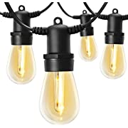 LITOM 48FT Patio String Lights Outdoor Deck Lights Commercial Grade Weatherproof IP65, Edison Vintage Bulbs 15 Hanging Sockets for Decorative Patio Porch Deck Bistro Café Backyard