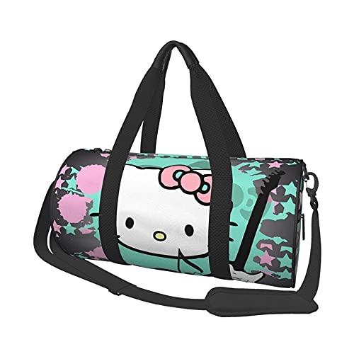 Hallo Kitty Cartoon Runde Reisetasche Stilvolle Sport Gym Seesack Reise Lage Handtasche für Männer Frauen. Kann zum Wandern verwendet Werden for