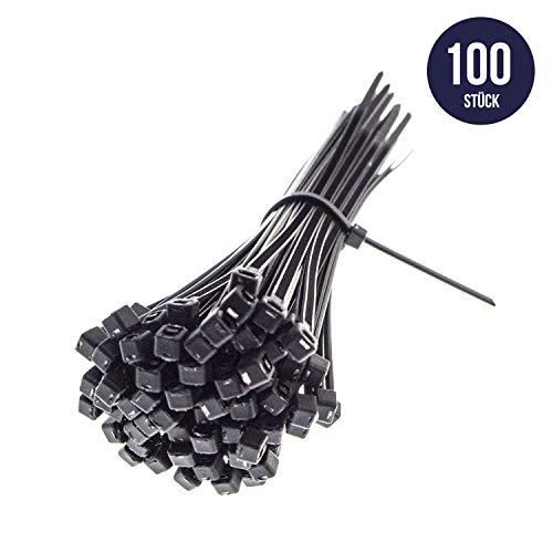 Premium Kabelbinder in Schwarz (100 Stück, 200mm x 2,5mm) UV, Hitze und Kältebeständig, Extra Stark, Geprüfte Qualität