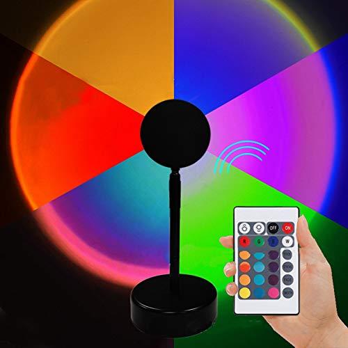 SUNTIRC Lámpara de puesta de sol Luz de Puesta de Sol RGB con Control Remoto, lámpara de proyección de Arco Iris con rotación de 180 Grados Cambio de 16 Colores,Lámparas de pie,para Decoración,Fondo