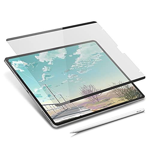 iPad Pro 12.9 inch (2021 / 2020 / 2019) マグネット式 ペーパーライクフィルム 簡単脱着 ワンタッチ脱着 紙のような描き心地 反射低減 アンチグレアフィルム 保護フィルム 収納ケース付き