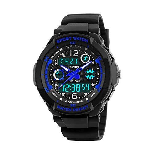 Reloj para niños, Reloj para niños para niños de 6 a 16 años Reloj de Pulsera analógico Digital Multifuncional para Deportes al Aire Libre con Alarma de luz LED y Fecha de Calendario