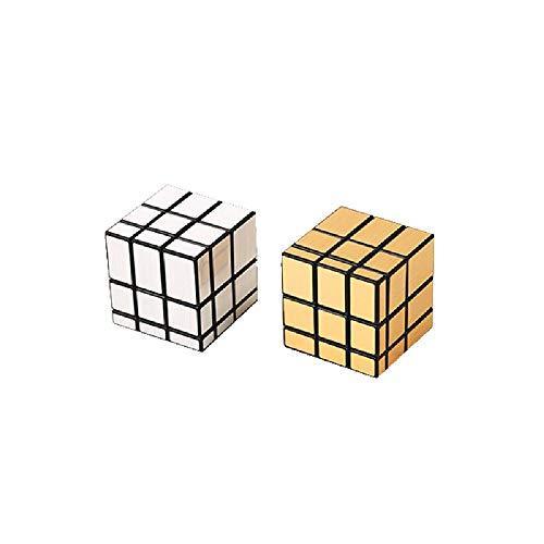 YXLM Tercer Orden 5,7cm Cepillado Oro y Plata reflejados de Rubik'S Cube...