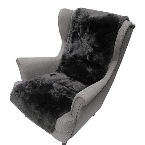 Hollert Lammfell Sesselauflage Kurzhaar 160 x 50 cm Dunkelgrau Sitzauflage Unterbett Merino Fellauflage