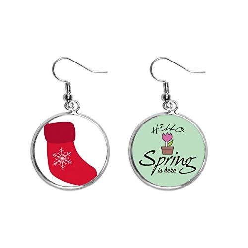 Boucles d'oreilles pendantes en forme de chaussette de neige rouge