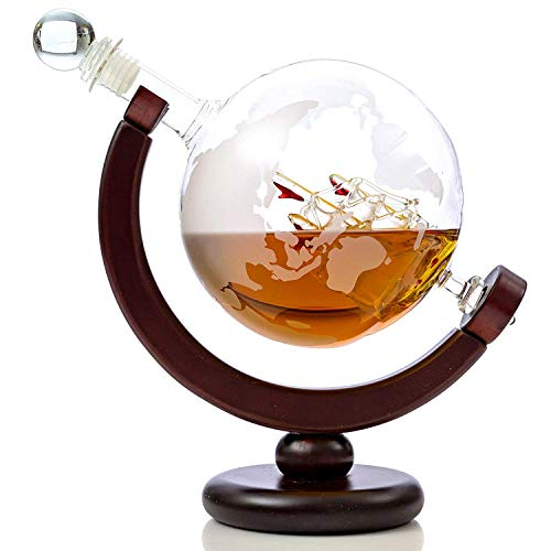 TUTC Whiskey Decanter Globe Set with 2 Etched Globe Whisky Glasses - for Liquor, Scotch, Bourbon, Vodka - 850ml