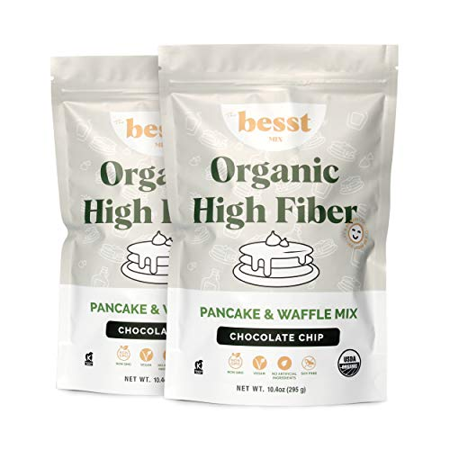 Bessties Organic High Fiber Pancake & Waffle Mix, Healthy Paleo Pancake and Waffle Mix for a Vegan Breakfast Made with Chemical-Free Plant Grain, Real Sugar, and No GMOs, Chocolate Chip, 2 Pack
