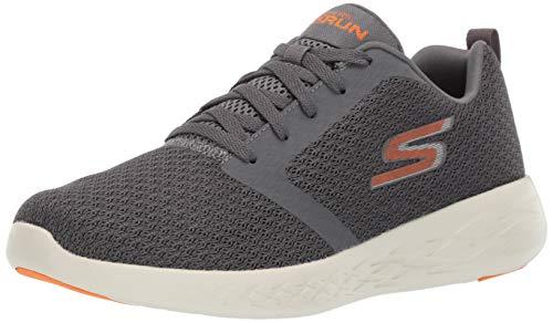 Skechers Go Run 600, Zapatillas sin Cordones Hombre, Gris Charcoal Textile Orange Trim Ccor, 47 EU