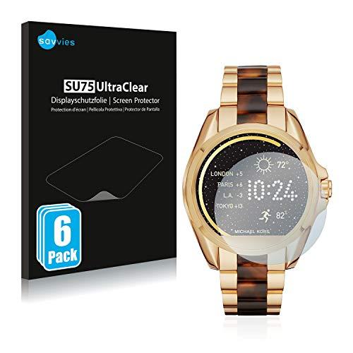 Savvies 6X Schutzfolie kompatibel mit Michael Kors Access Bradshaw/Grayson Bildschirmschutz-Folie Ultra-transparent