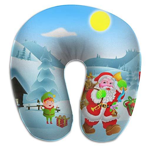 Feliz Navidad Invierno Nevando Niños Felices Almohada para el Cuello en Forma de U Cómoda Almohada de Viaje de Microfibra Suave para el Cuello para el hogar, Dolor de Cuello