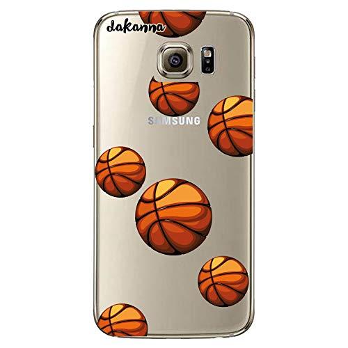 dakanna Funda para Samsung Galaxy S6   Patrón Balón de Baloncesto   Carcasa de Gel Silicona Flexible   Fondo Transparente