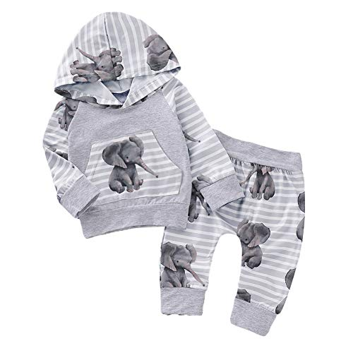 Shiningbaby Baby-Elefant-Trainingsanzug-Jungen-Mädchen-mit Kapuze Kleidung stellte Mode-Ausstattung EIN