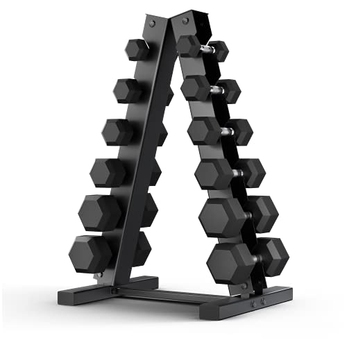 Epic Fitness 210-Pound Hex Dumbbell Set with Heavy Duty A-Frame Rack