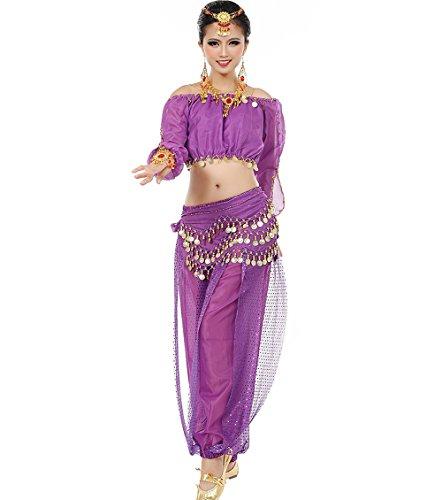 Astage Mujeres Danza del Vientre Disfraz Active Wear Top Pantalones Cinturón Sets Púrpura