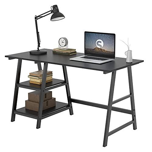 soges Schreibtisch 120×60cm Computertisch Büromöbel PC Tisch Bürotisch Arbeitstisch aus Holz und Stahl, mit 2 Ablagen, Schwarz Tplus-BK