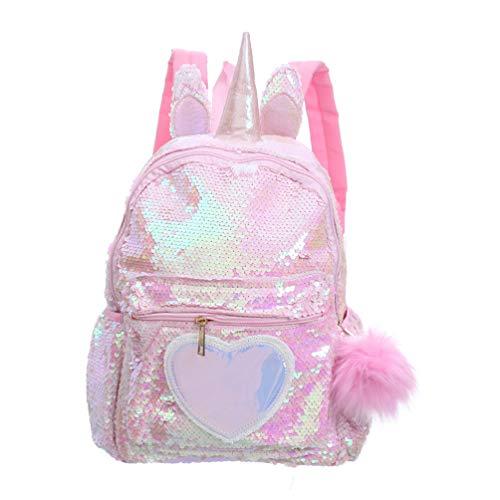 VALICLUD Mochila de lentejuelas reversible de unicornio para niños niñas Mochila escolar con purpurina brillante Preciosa mochila de viaje informal con patrón de corazón