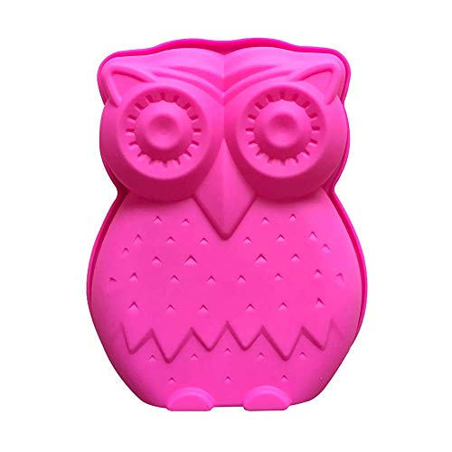 Mini Size Cute Owl Shape Silicone Cake Pan, Owl Mousse Cake Bread Pizza Baking Mold Jelly Silicone Mold Kitchen Bakeware Tools (7.3x6.3x1.2 Inch)