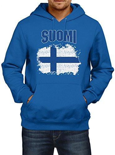 Shirt Happenz Finnland Flagge Premium Hoodie Fußball Nationalität Reisen Herren Kapuzenpullover, Farbe:Blau;Größe:XL