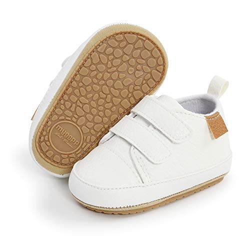 E-FAK Baby Shoes Boys Girls Infant Sneakers Non-Slip Rubber Sole Toddler Crib First Walker Shoes(6-12 Months, 02 White)