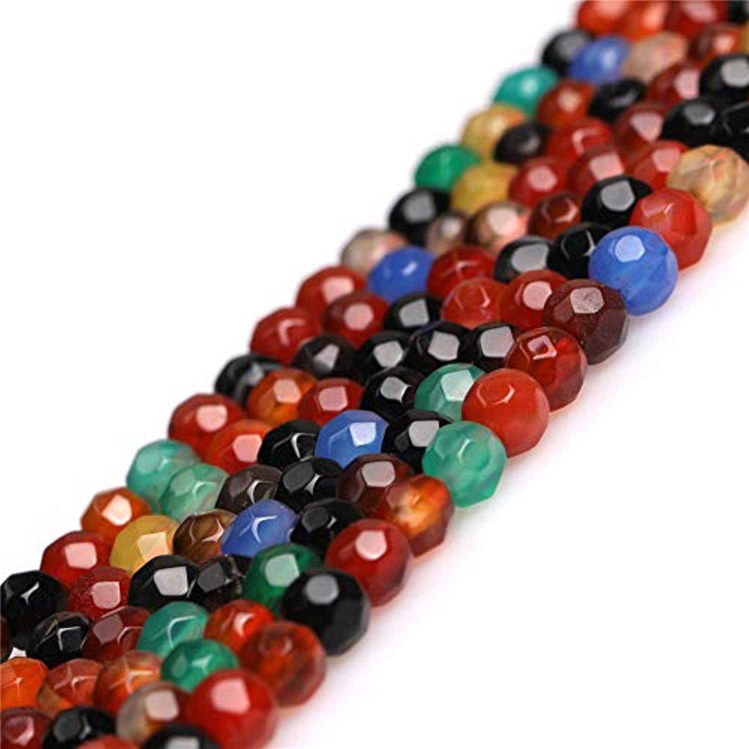 Round Faceted Mixed Color Agate Gemstone Loose Beads in Bulk Handmade DIY One Strand 15
