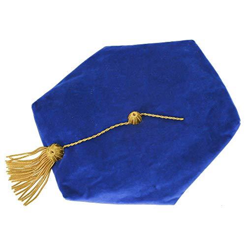 GraduationMall Doctoral Tam Quaste, Samt, goldfarben Gr. Einheitsgröße, Blau, 6 Seiten.