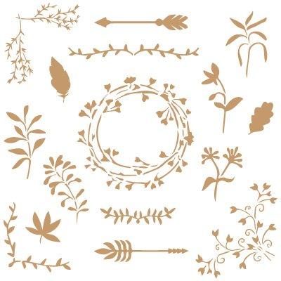 TODO-STENCIL Deco Floral 045 Elementos Florales Medidas aproximadas: Medida Exterior 25 x 25 Medida del diseño: 23 x 23