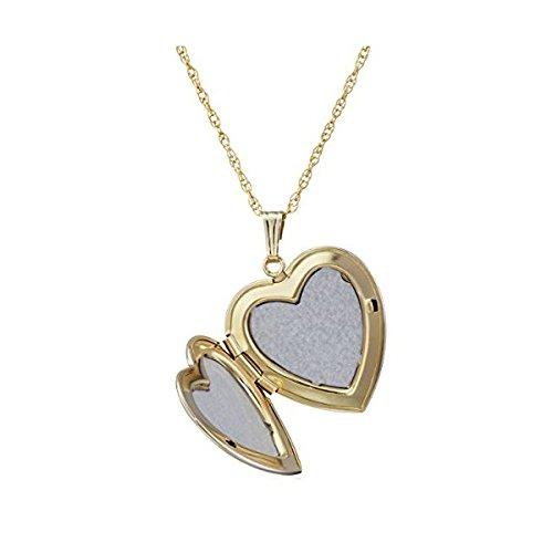 Collier à pendentif cœur avec or jaune 14 carats et diamants - 5
