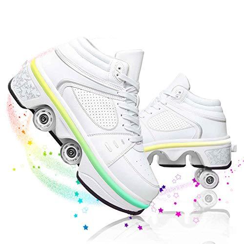 JZIYH Patines De 4 Ruedas Roller Shoe Skate Patines De Ruedas Multiusos 2 En 1 Patines con 7 Luces Que Cambian De Color para Principiante