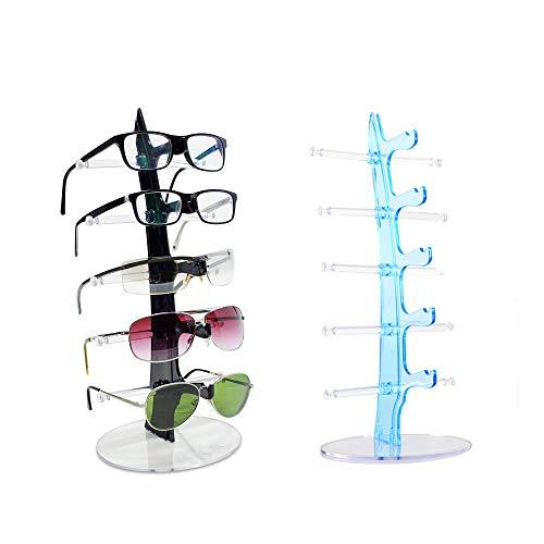 Mein HERZ 2 Pcs Brillenständer für 5 Brillen - 34 x 15 x 15 cm - Brillenhalter zur Aufbewahrung und Präsentation,Geeignet für Sonnenbrillen, Myopia-Brillen, Planspiegel,Lesebrille(Schwarz und Blau)