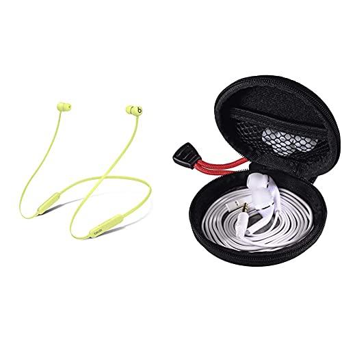 Kabellose BeatsFlex In-EarKopfhörer– AppleW1Chip– Yuzugelb & Hama Kopfhörer Tasche für In Ear Headset (Robustes Hardcase zur In Ears Aufbewahrung) schwarz