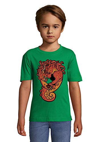 Luckyprint Red Demon Leap from Hell Green Kids Colorful T-Shirt 8 Year Old (118/128cm)