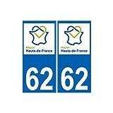 62 Pas-de-Calais autocollant plaque immatriculation sticker auto Haut-de-France département sticker nouveau logo - Angles : arrondis
