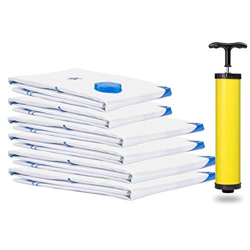 QTTO Vakuumbeutel, 6 Stück 3 Größen Aufbewahrungsbeutel Reise Vakuum Wiederverwendbar Kleiderbeutel Kompressionsbeutel mit Handpumpe für Kleidung Bettdecken Handtücher und vieles mehr