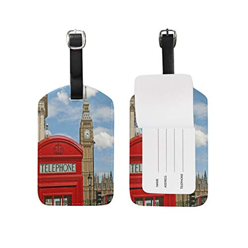 Etiquetas para equipaje de viaje con diseño de cabina de teléfono, color rojo, 1 pieza