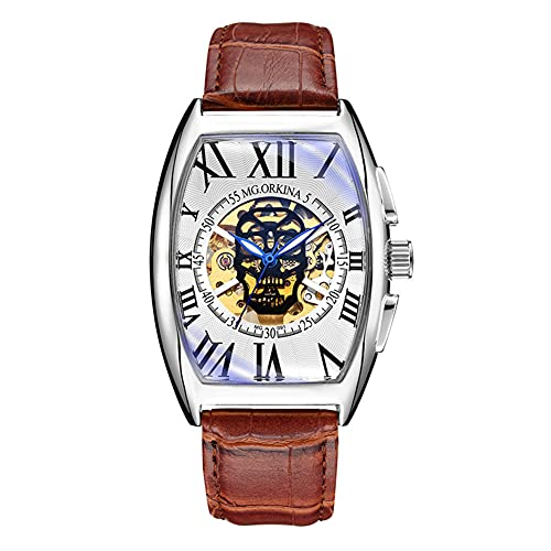 XIAN Reloj de Pulsera mecánico automático con Cabeza de Calavera para Hombre, Esfera de Esqueleto Hueca, Banda de Cuero, Relojes de Pulsera con Calavera de Moda para Hombres,001