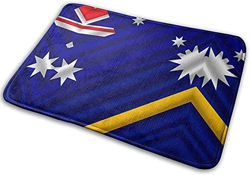 NA Badematte Badezimmerteppich, Wehende Flagge Nauru & Australien Saugfähige Wohnzimmer-Schlafzimmer-Teppiche rutschfest für Duschböden im Eingangsbereich,