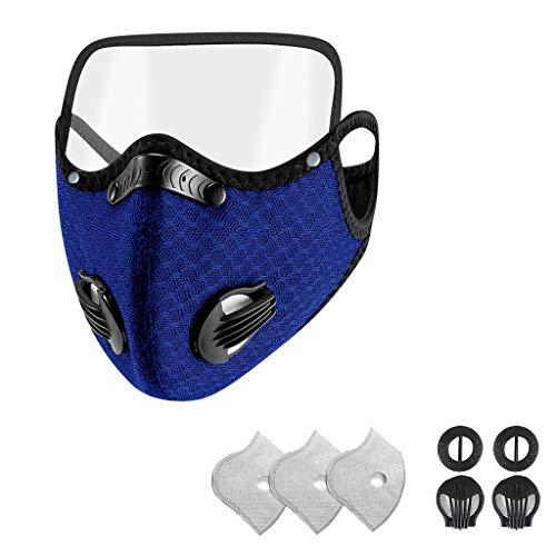 Morran sport mask med ögonmask motstånd andning syre face mask filter ansikte munskydd för ventil motorcykel cykling sport utomhusaktiviteter(Dark Blue,1pc+2 valve+3 filter)