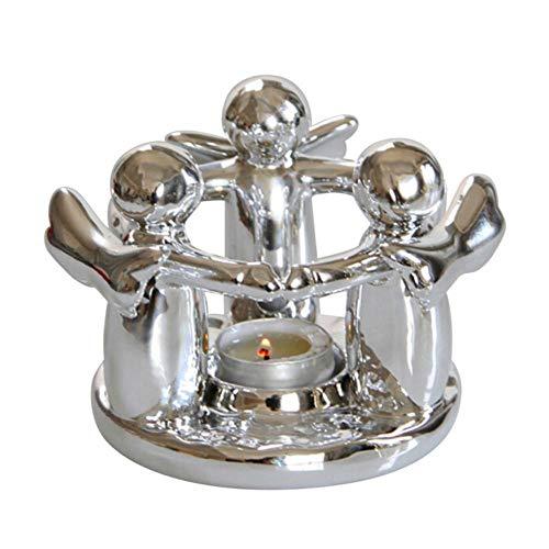 SAGIUSDM Portacandele Candeliere Europeo in Ferro Art Centrotavola Centrotavola Decorazioni Natalizie Figurine di Angelo Sagomate, Argento